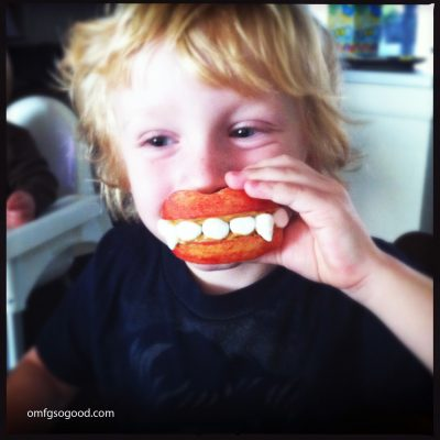 EAT YOUR HEART OUT #3:  Apple Fangs.