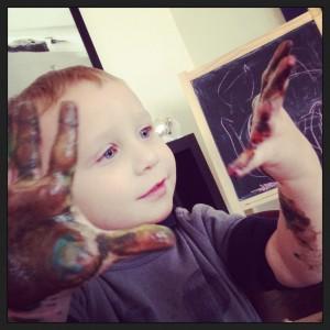 Charlie fingerpainting Clorox