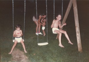 Adrian Eric and Travis in underwear on swing 1986
