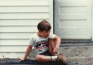 Adrian on porch stoop in Souderton 1980