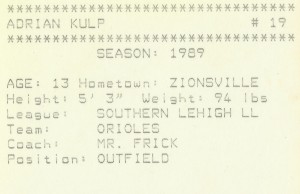 Backside of Orioles trading card 1989