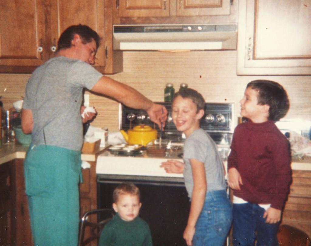 dad cooking us breakfast as kids