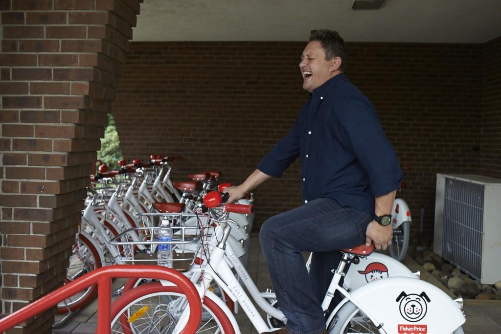Adrian sitting on FP bikes