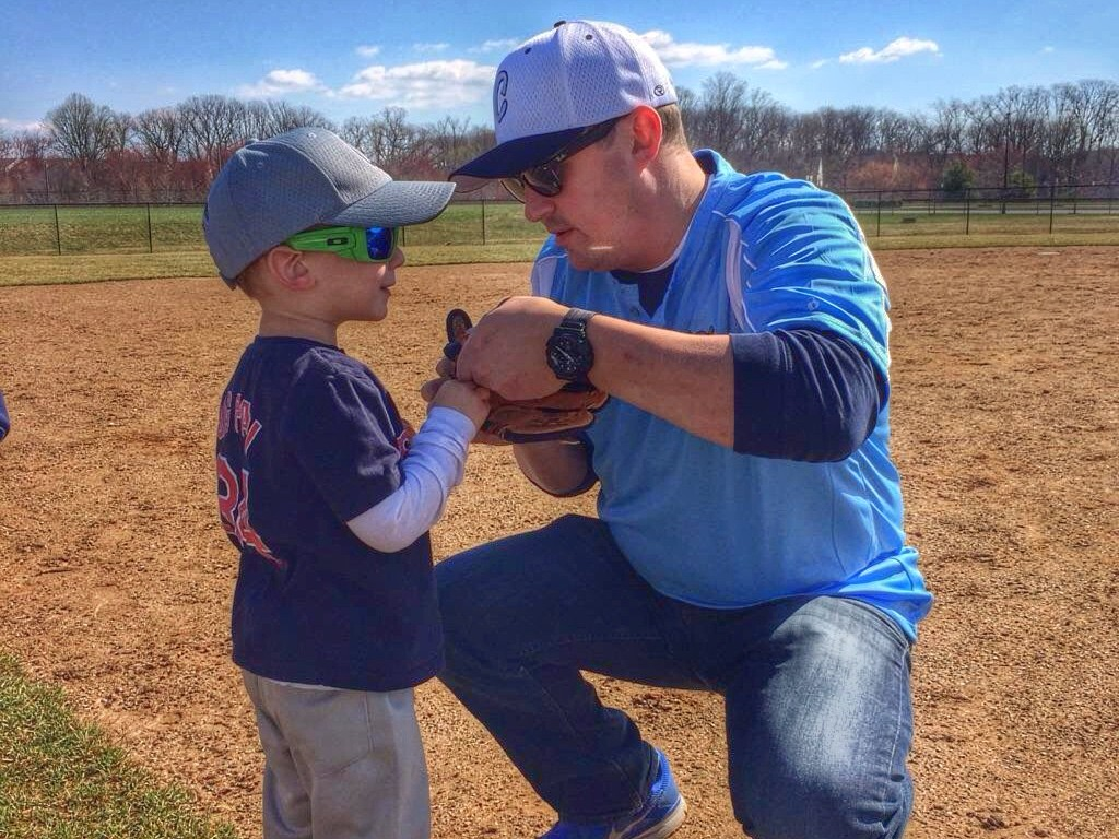 Dad and Charlie at first teeball game