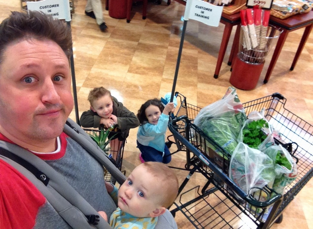 Dad with all kids at store