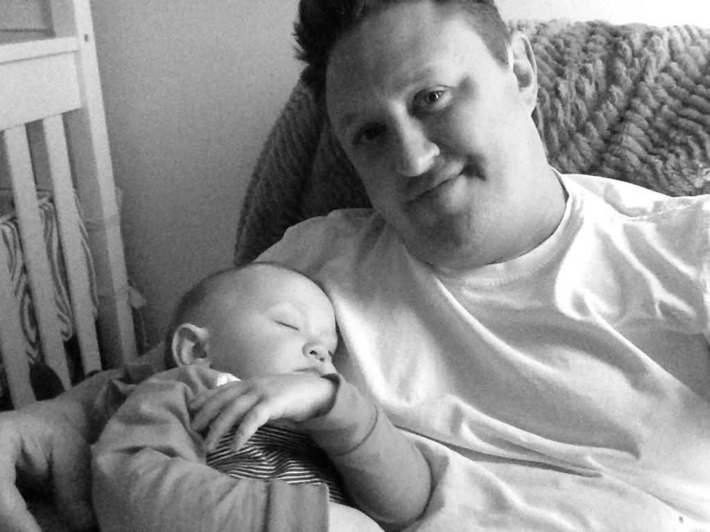 Daddy with Mason sleeping