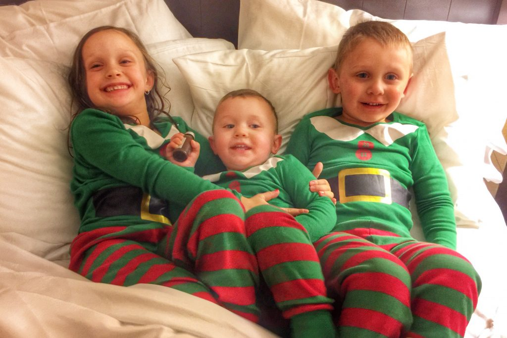 Ava Charlie and Mason in elf pjs