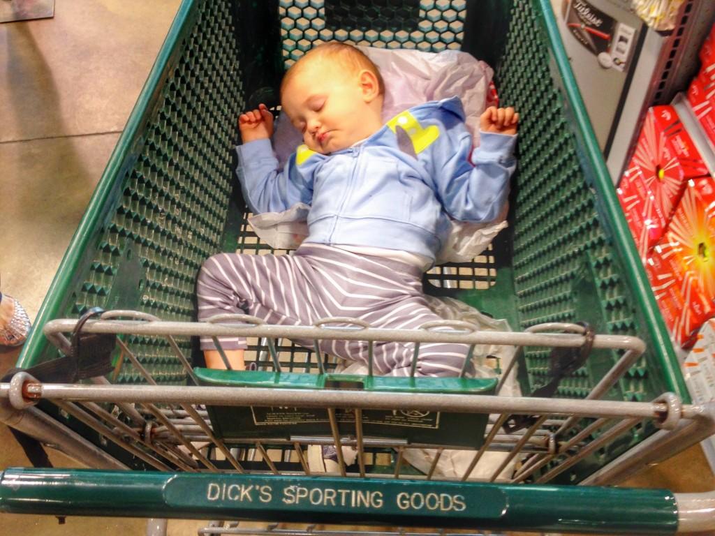 Mason naps at store