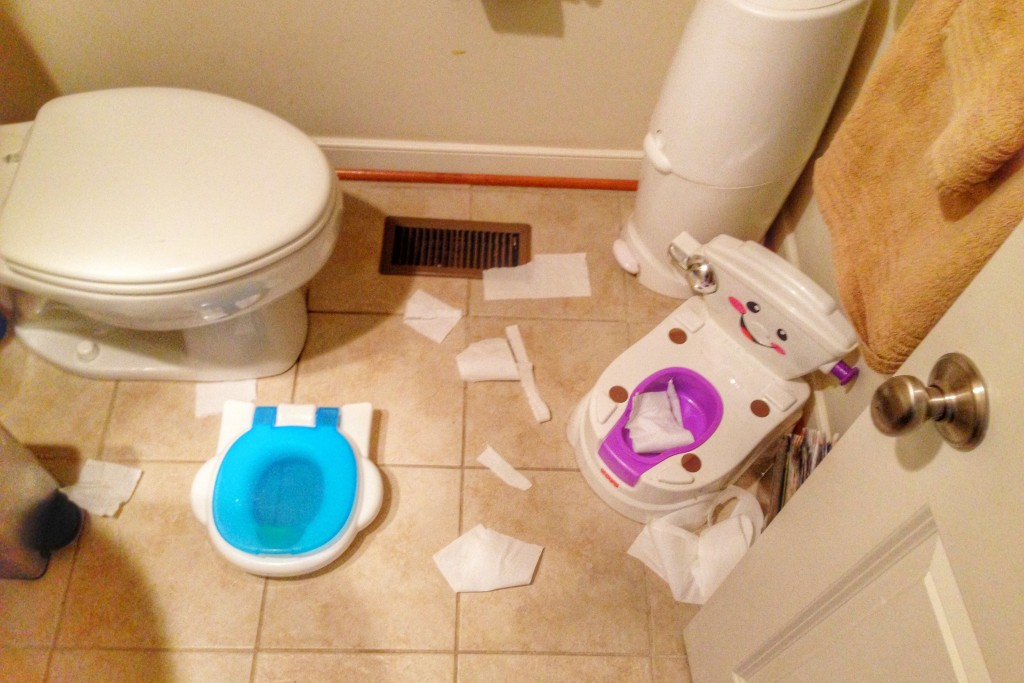 Potty training bathroom chaos