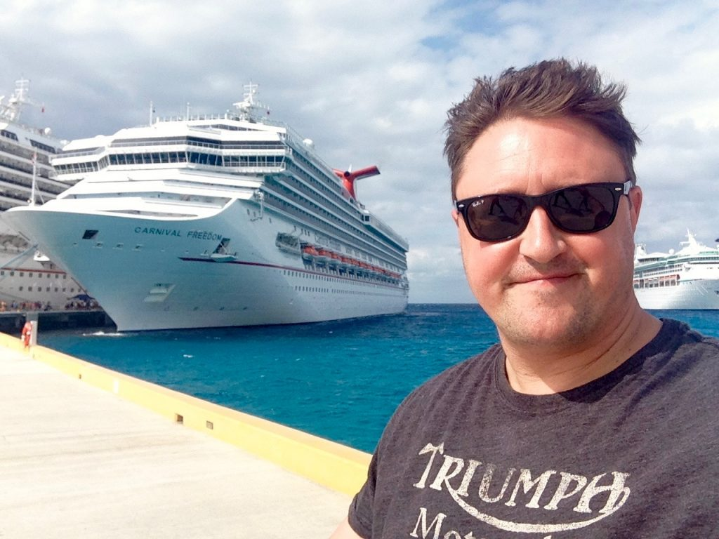 Adrian in front of Carnival Freedom