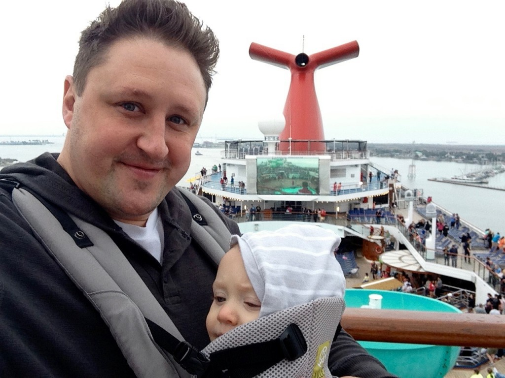 Adrian on top of Carnival Freedom with Mason