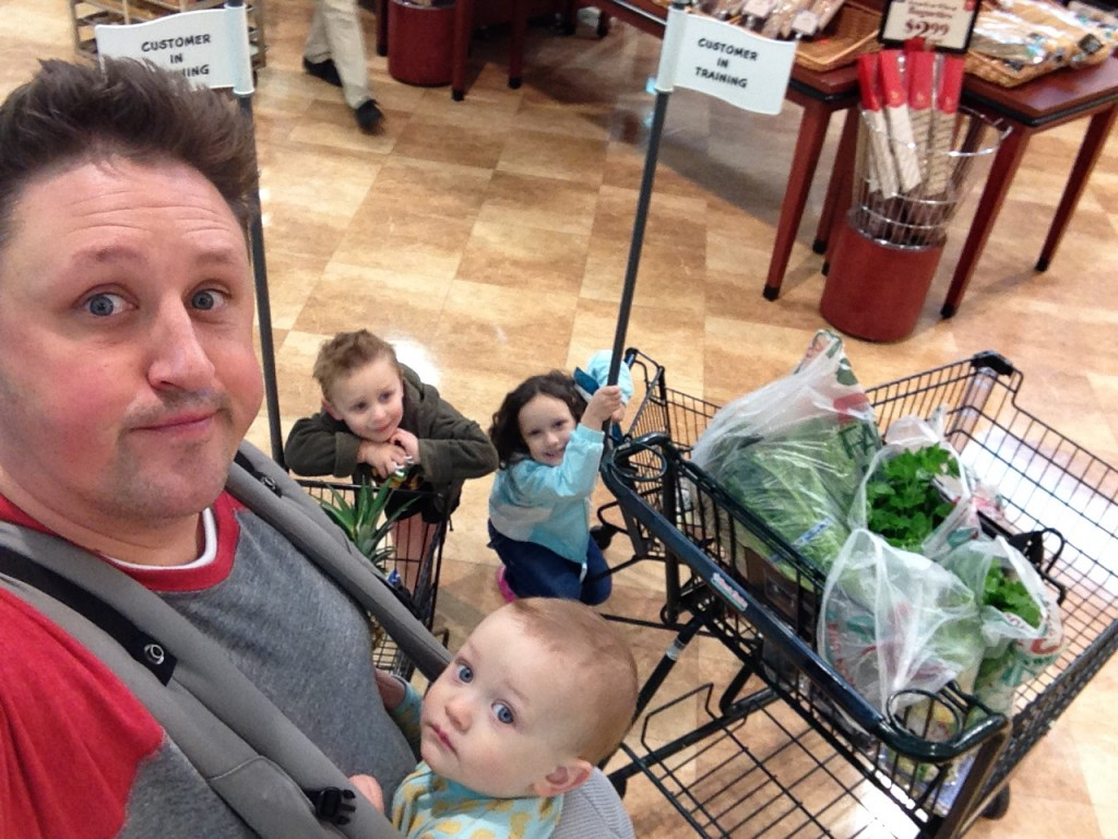 Adrian at Supermarket with kids
