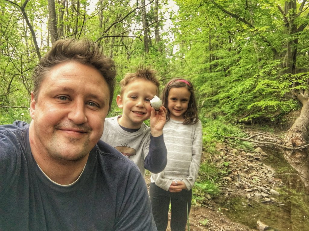 Adrian Charlie and Ava at the creek