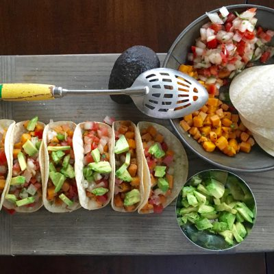 Sweet Potato Tacos PLUS Crispy Citrus Chicken and Garlic Broccoli Skillet.
