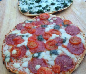 Pepperoni Pesto and Spinachi off the grill