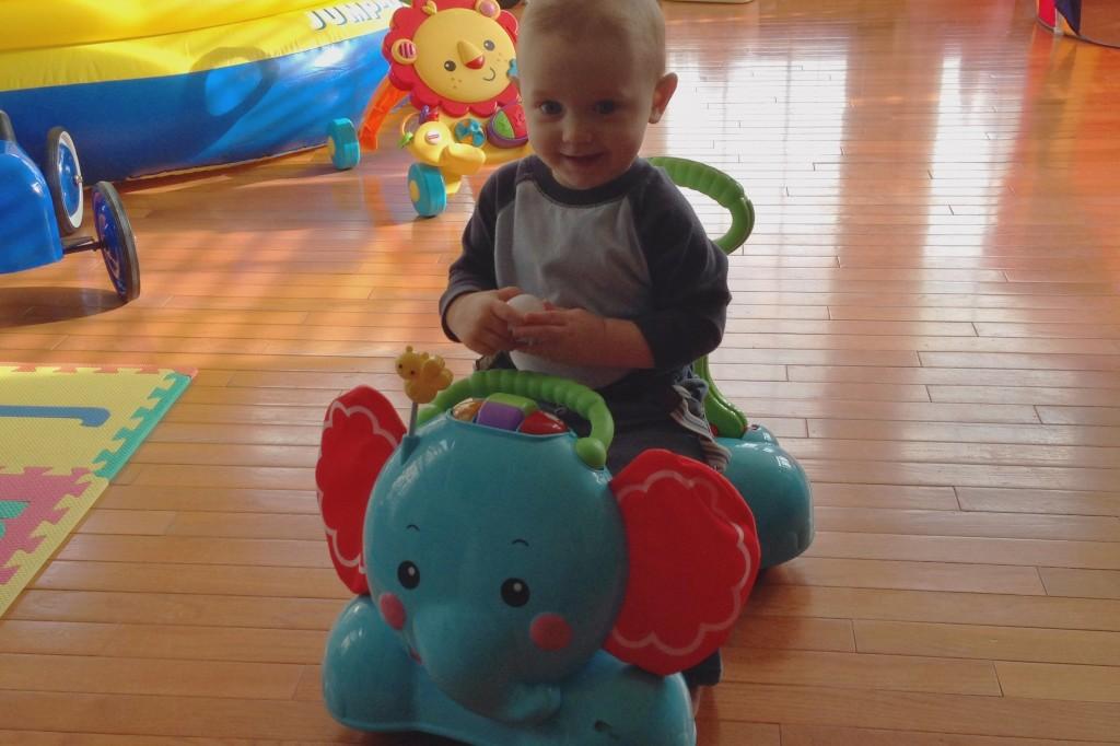 Mason sitting on FP Elephant