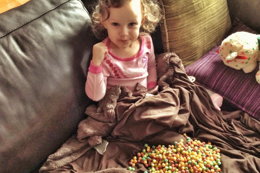 Ava spills cereal