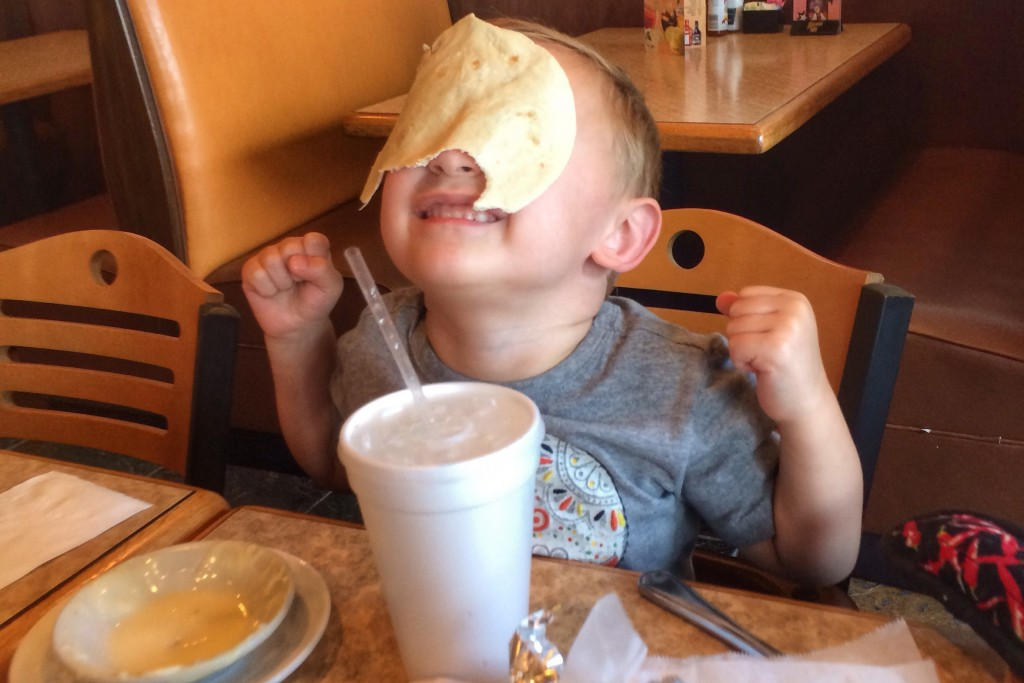 Charlie with Tortilla on face