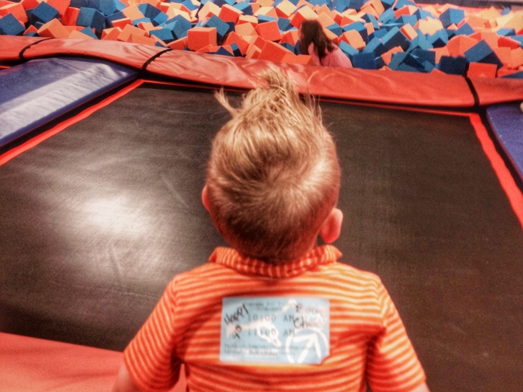 Charlie waits for his turn on foam pit