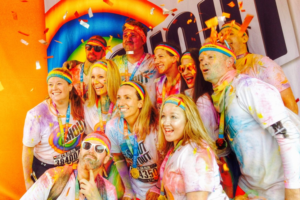 Team Shout color run glitter booth