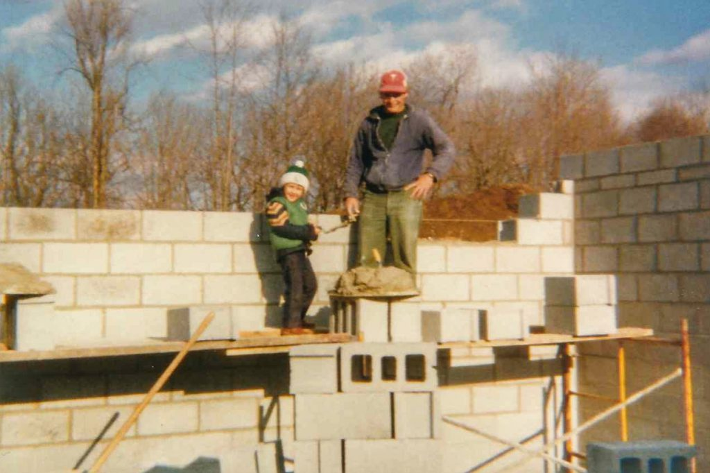 Adrian and Dad on scaffolding